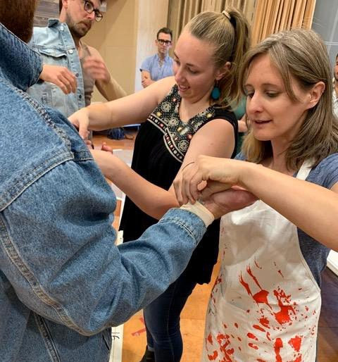 Members of the Costume & Makeup Departments help with the goop