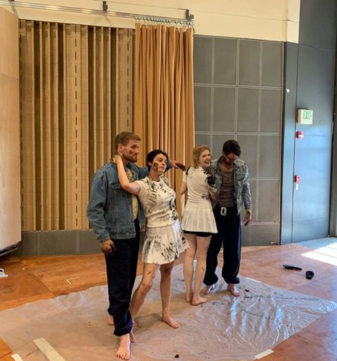 Cast members Jarrett Ott, Emily D'Angelo, Amanda Majeski and Ben Bliss in rehearsal